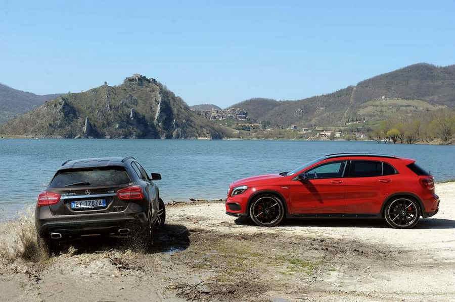 Mercedes Lago Turano Mercedes GLA SUV Enduro vista Monte Antuni e Castel di Tora