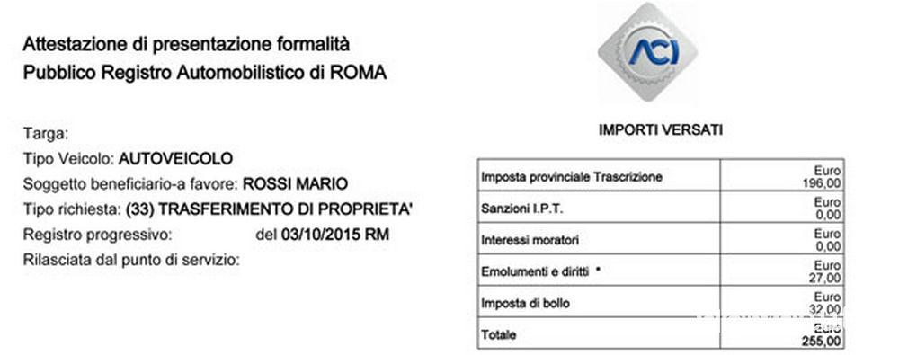 Ricevuta certificato di proprieta auto digitale