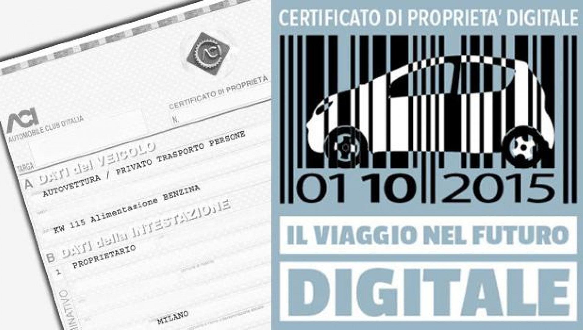 Certificato di proprietà auto digitale CDP