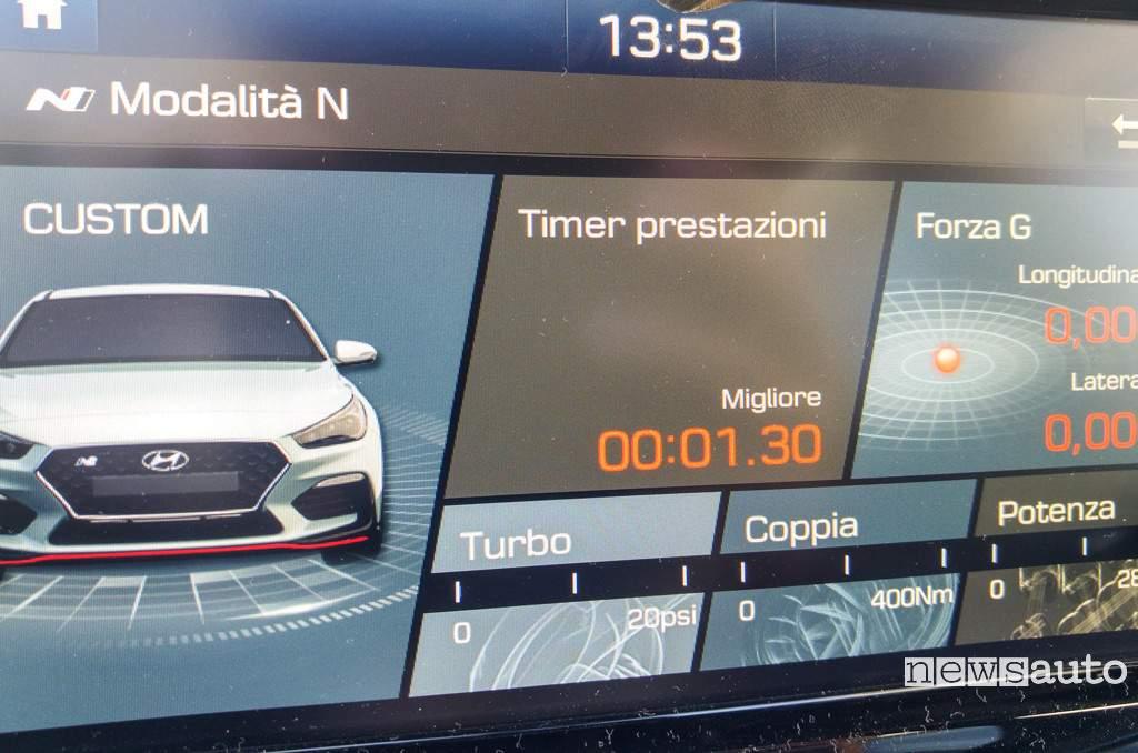 "Hyundai i30 N schermo da 8"" touch con funzione N"