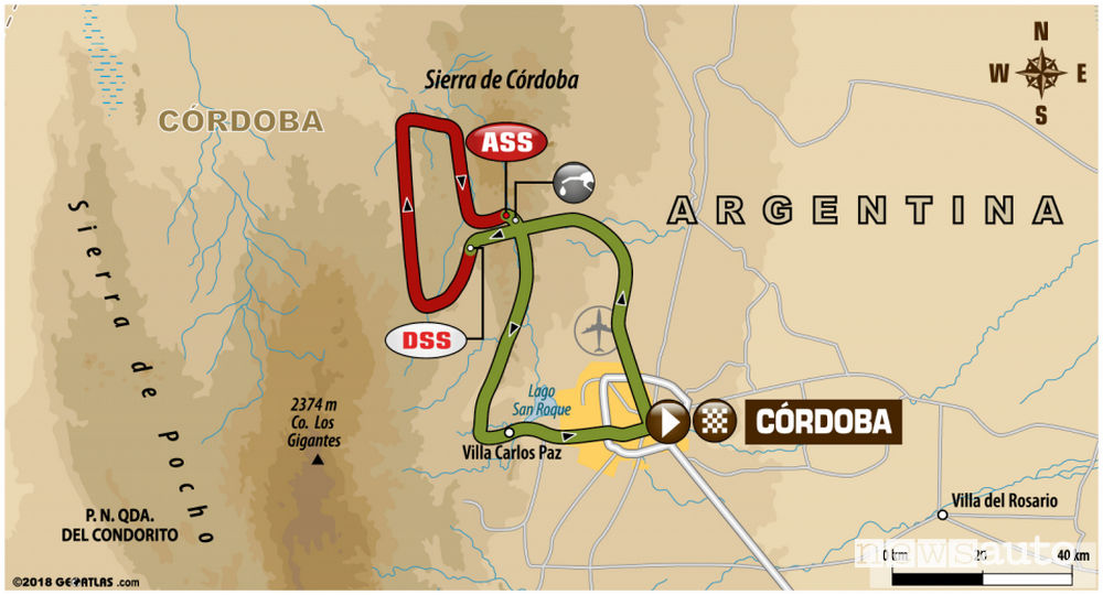 Dakar 2018 14^ tappa mappa Cordoba-Cordoba