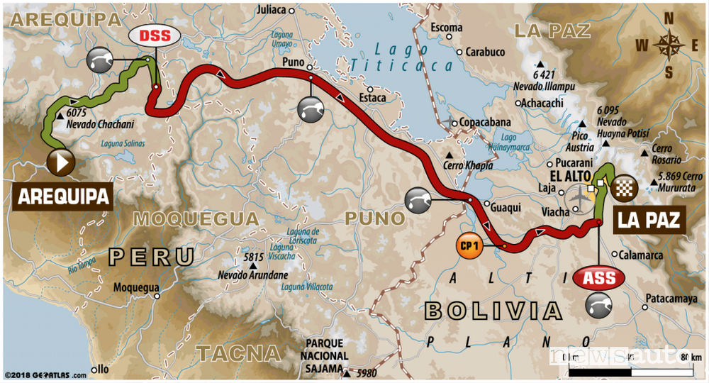 Dakar 2018 6^ tappa mappa Arequipa - La Paz