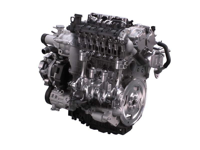 Il nuovo motore a benzina Skyactiv-X di Mazda ad accensione spontanea: sezionato si vedono pistoni, bielle ed albero motore