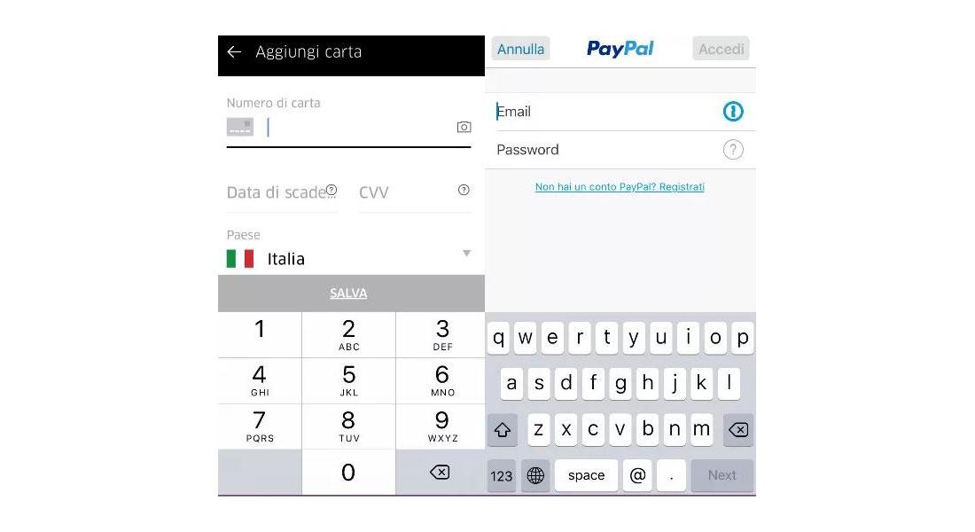 Uber_APP Schermata Pagamento - uber come funziona