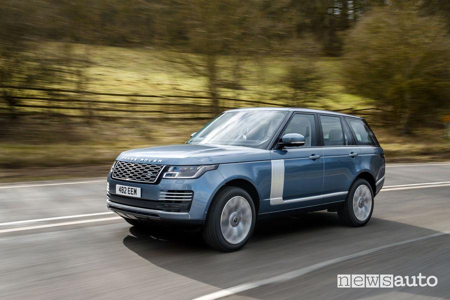 Range Rover PHEV 2019 blue vista di profilo