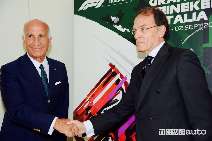 Giuseppe Redaelli, Presidente dell'Autodromo di Monza, nella foto con Angelo Sticchi Damiani, Presidente dell'Automobile Club Italia