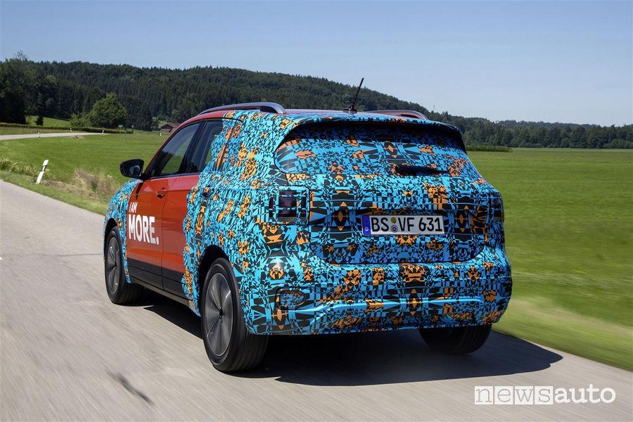 Vista posteriore VW T-Cross livrea camouflage