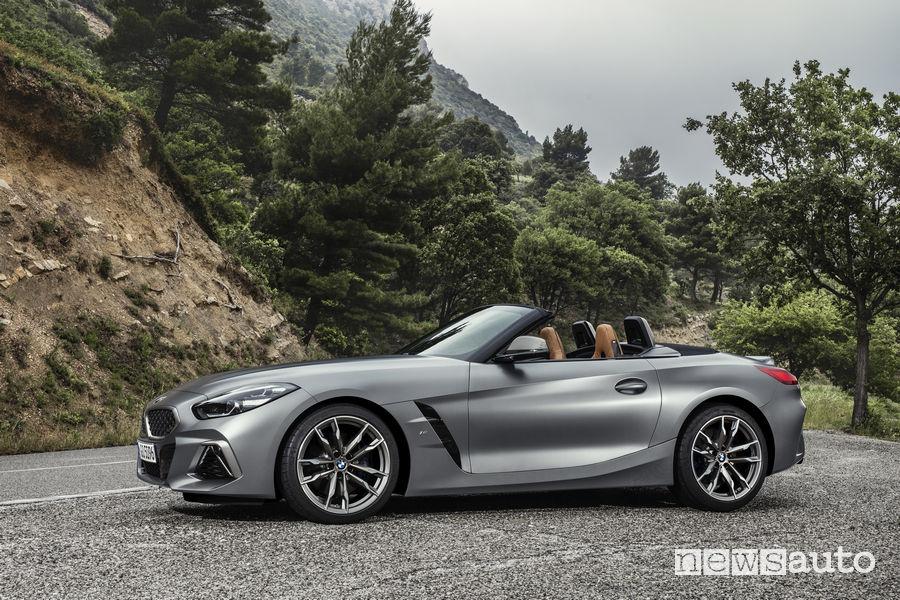 Nuova BMW Z4 2019, vista laterale