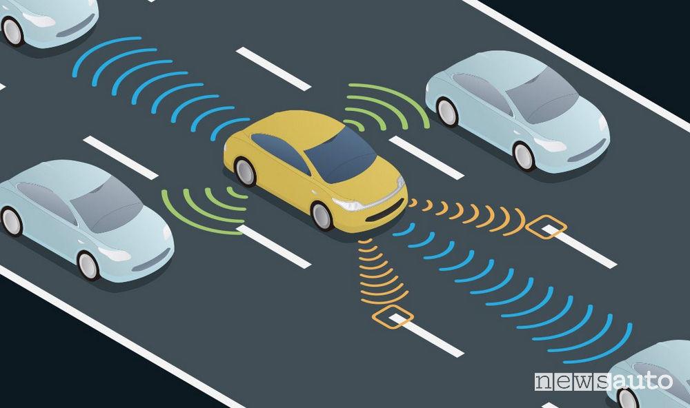 Sistemi ADAS auto riconosce le vetture in avvicinamento