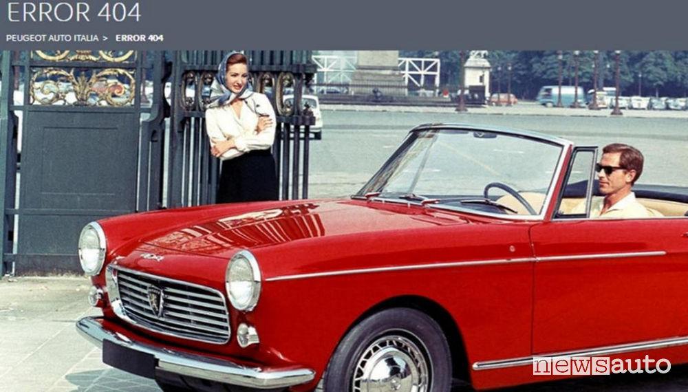 errore 404 Pagina non trovata Peugeot Italia