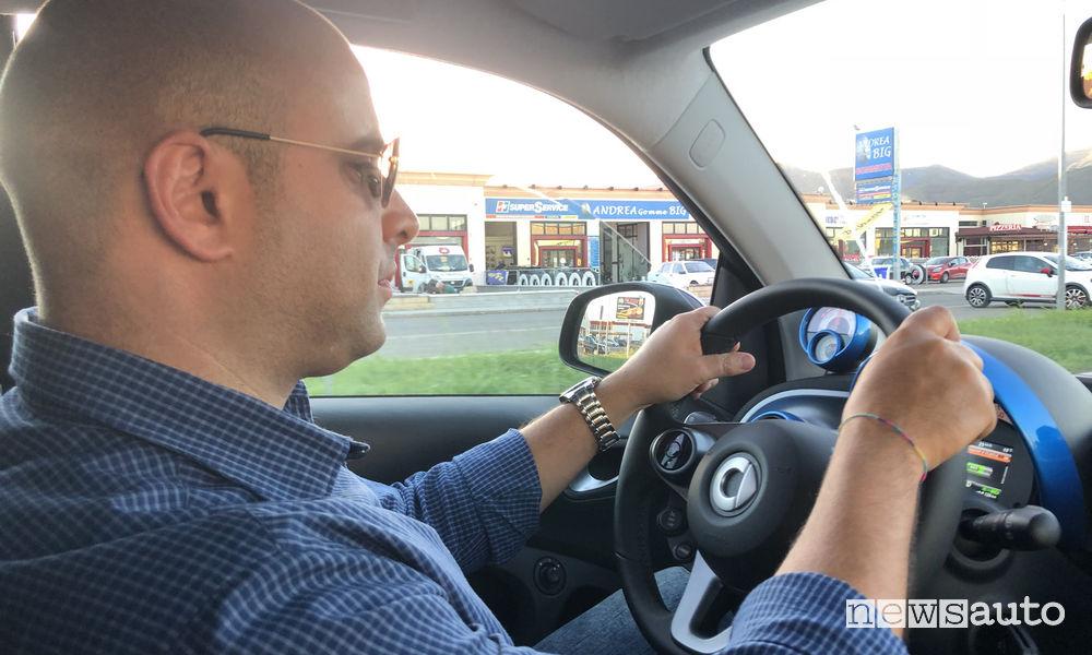 smart EQ elettrica alla green power run con Marco Savo alla guida