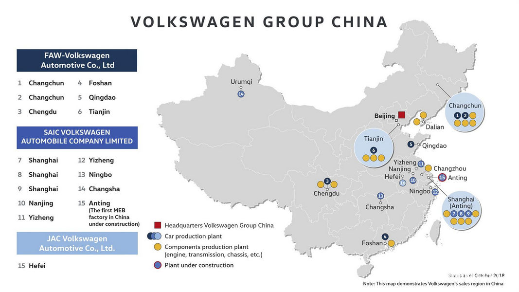 Volkswagn mappa Stabilimento MEB Cina