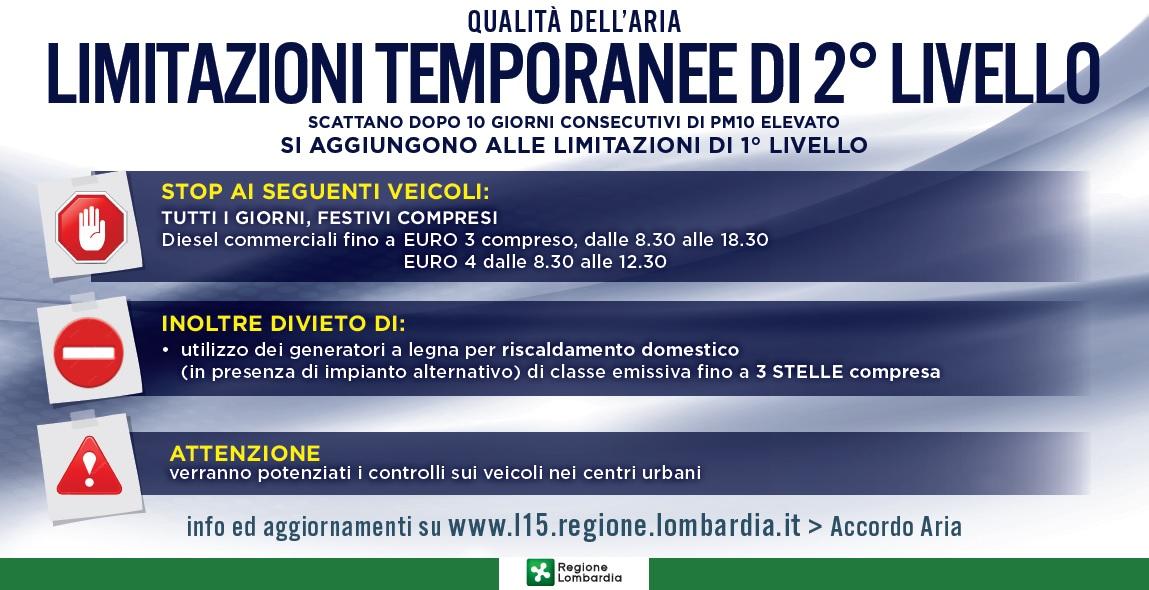 Infografica limitazione del traffico in Lombardia 2° livello