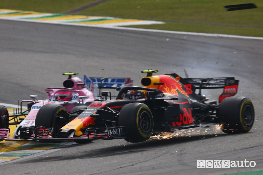 F1 Gp Brasile 2018, contatto Ocon-Verstappen