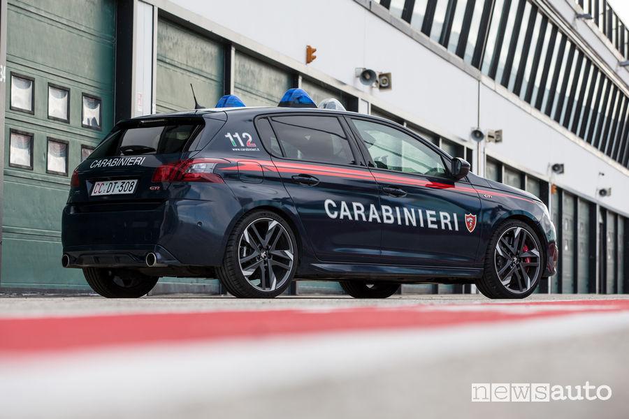 Peugeot_308 Gti Carabinieri nei box del circuito di Misano