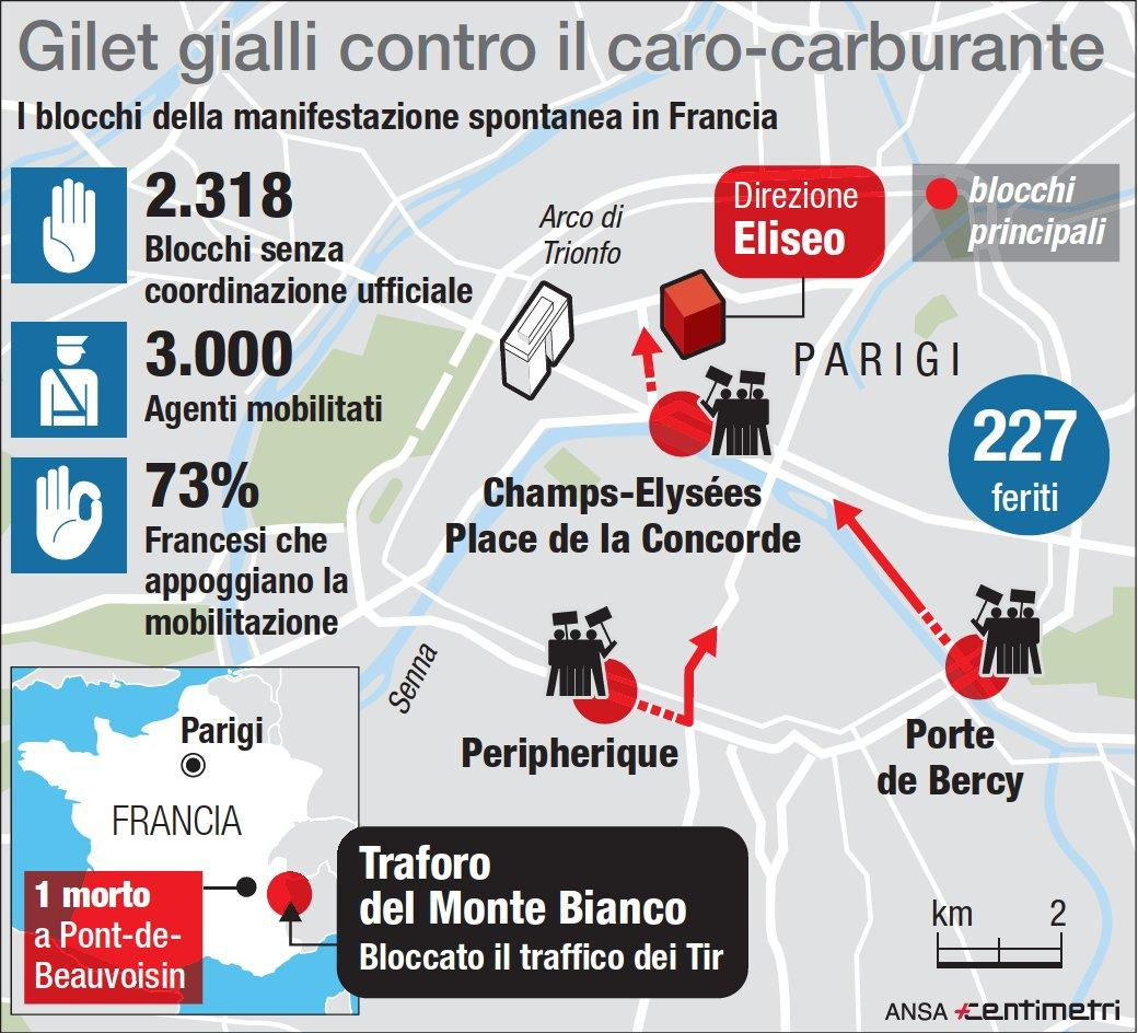 infografica Protesta auto caro carburante Francia