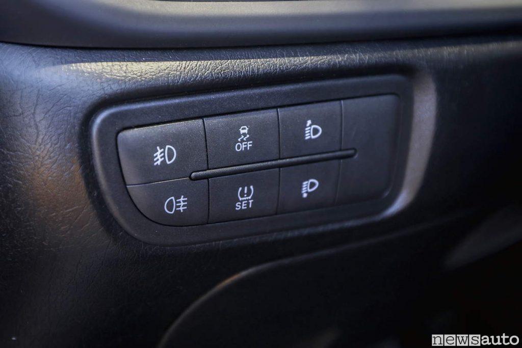 Fiat Tipo comandi fari fendinebbia regolazione disattivazione controllo trazione