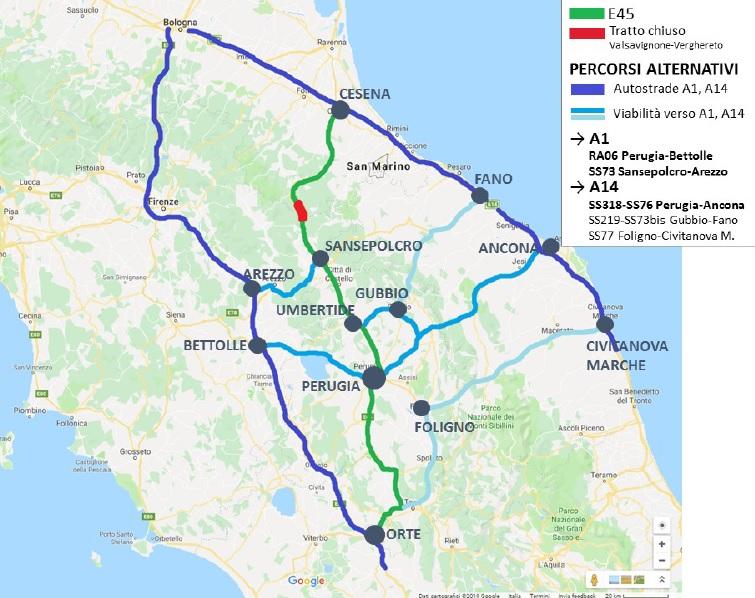 E45 chiusa, mappa percorsi alternativi