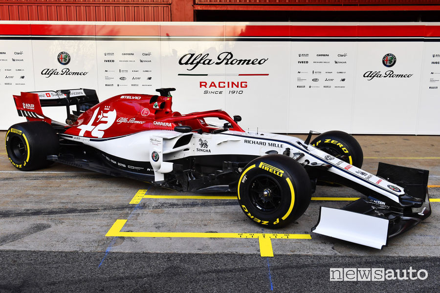 F1 2019 Alfa Romeo Racing C38, vista di profilo