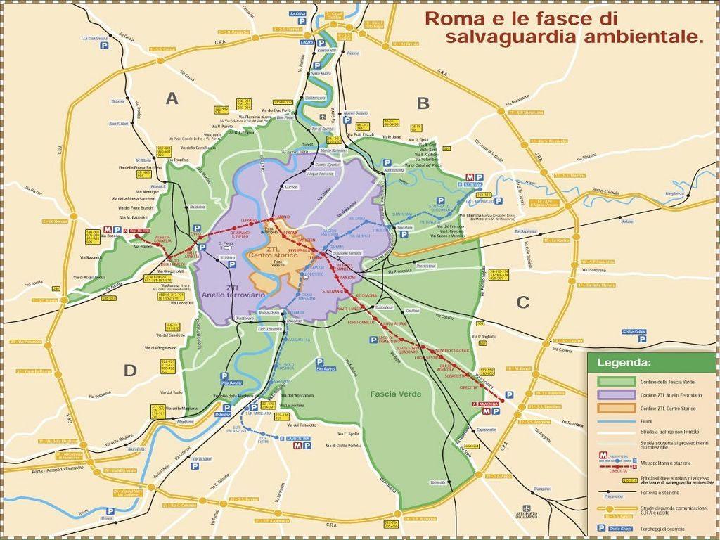 Mappa Anello Ferroviario a Roma, blocco diesel Euro 3 Roma