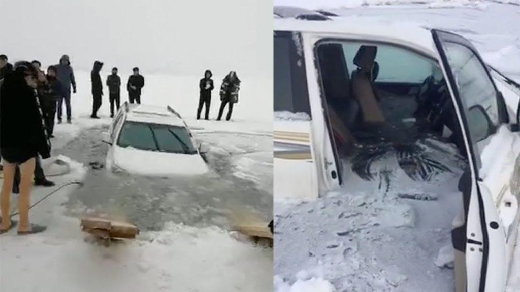 Auto sprofonda nel-ghiaccio-sul lago abitacolo allagato