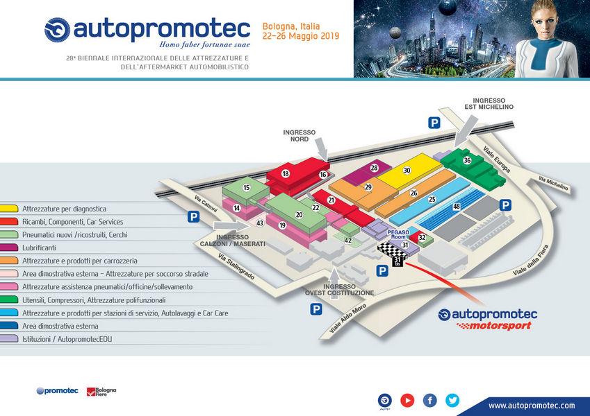 Planimetria Padiglioni Autopromotec 2019