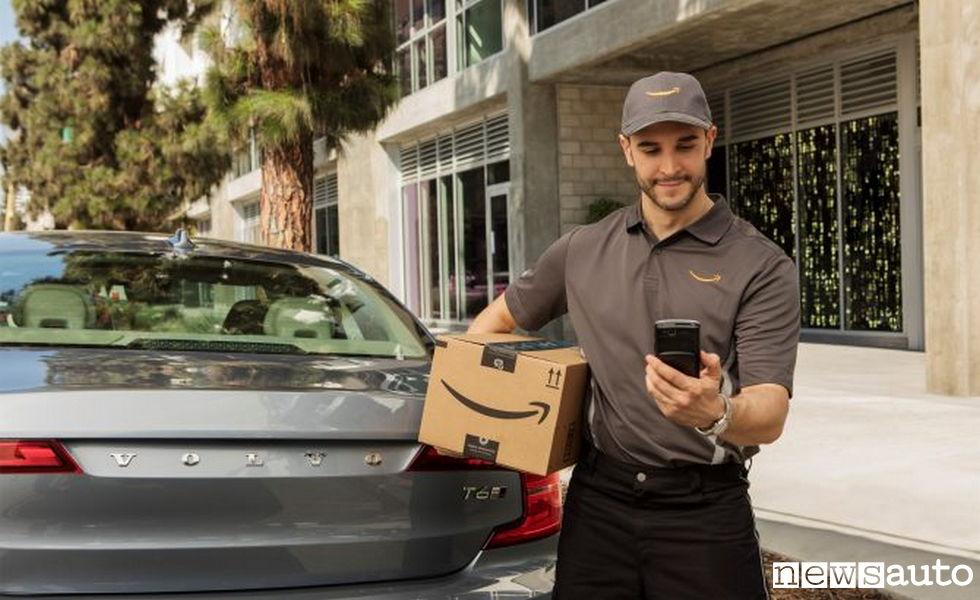 acquisti online consegna pacco in auto amazon app key