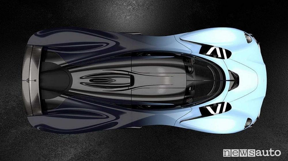 Aston Martin Valkyrie vista dall'alto