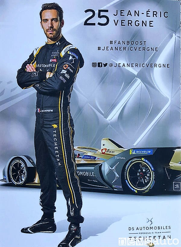 Jean Eric Vergne su DS, campione in carica ha avuto una gara sfortunata all'ePrix Formula E di Roma