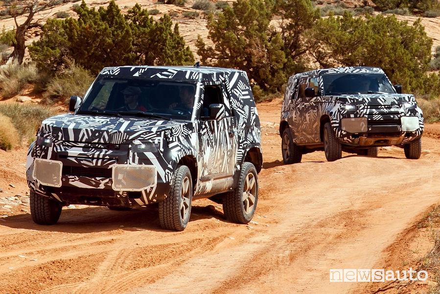 Nuova Land Rover Defender prototipo test nel Moab