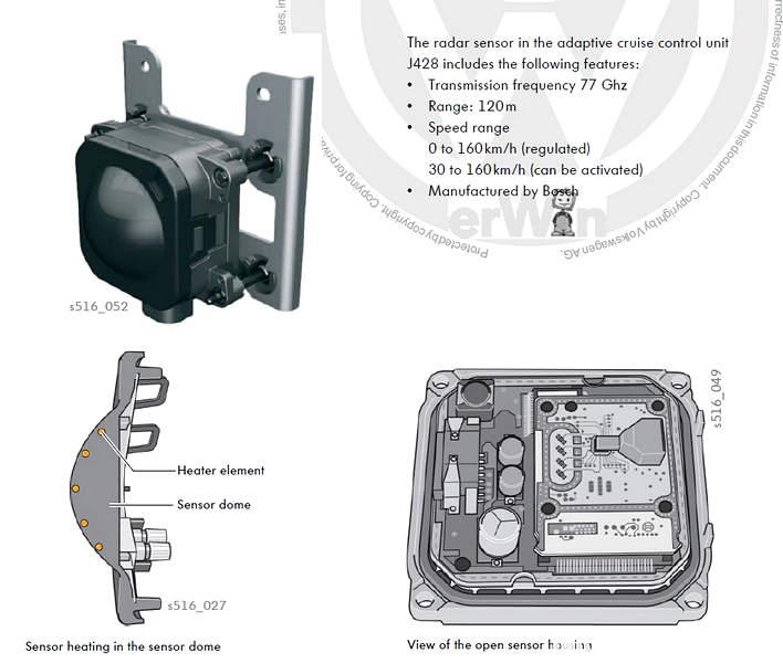 Sensori a centralina ACC Cruise control adattivo