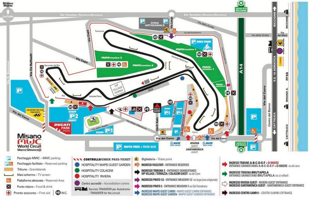 Mappa circuito Misano Adriatico Simoncelli in occasione del Moto GP San Marino