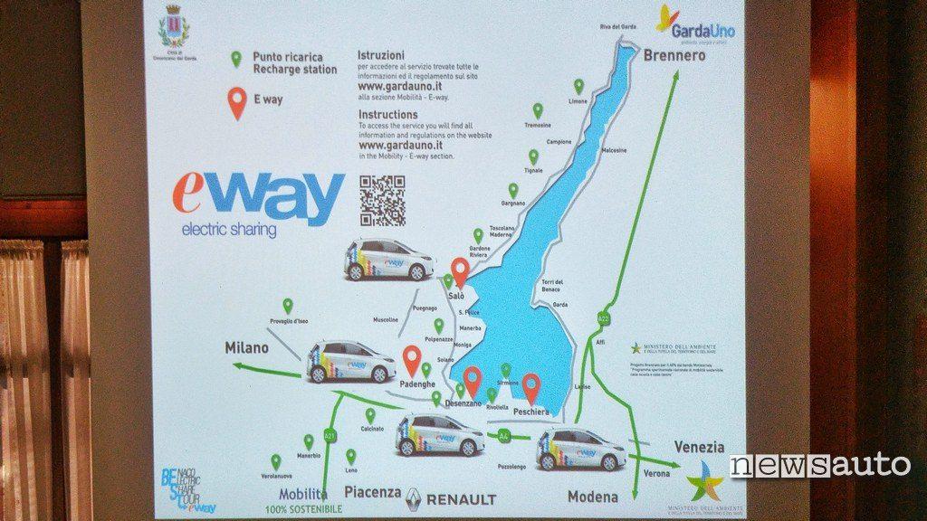 Mappa colonnine lago di Garda e stazioni E-Way car sharing elettrico in Lombardia con Renault Zoe