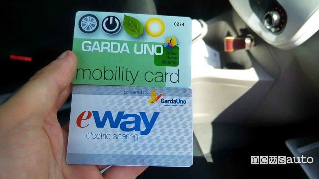 Tessera servizio E-Way carsharing elettrico al lago di Garda