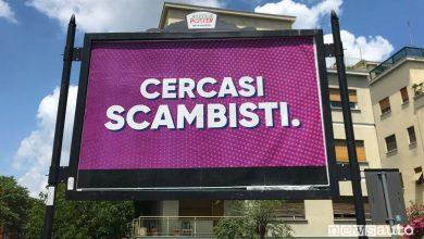 Cercasi Scambisti cartello pubblicitario