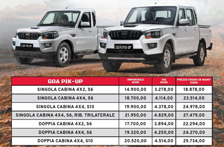 Listino prezzi Mahindra GOA Pik-Up Plus