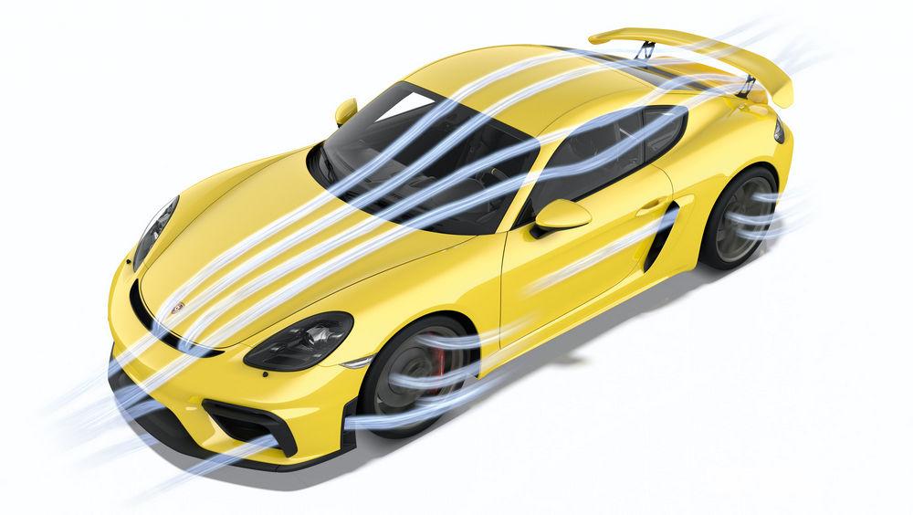 Porsche 718 Cayman GT4 flussi aerodinamici