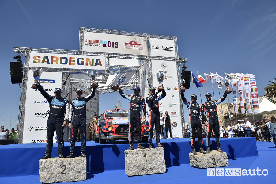 Podio finale Rally Italia Sardegna WRC 2019