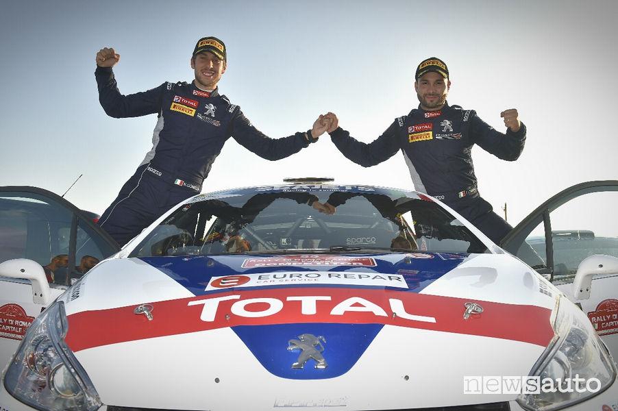 Rally di Roma Capitale 2019 podio vittoria Peugeot 208 R2 Ciuffi/Gonella