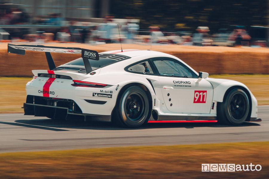 Nuova Porsche 911 RSR vista posteriore al Goodwood Festival 2019