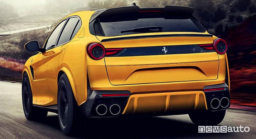 Rendering SUV Ferrari Purosangue 2022
