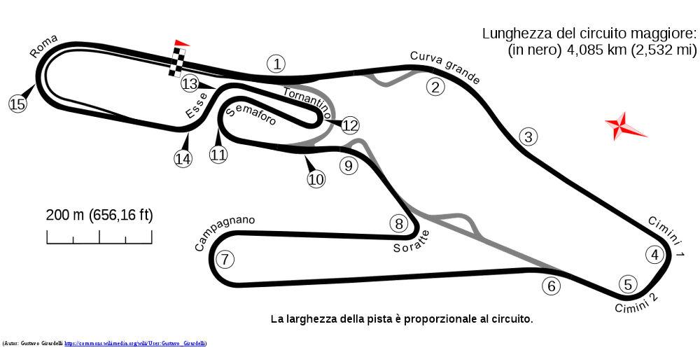 Planimetria dall'Autodromo Romano di Vallelunga