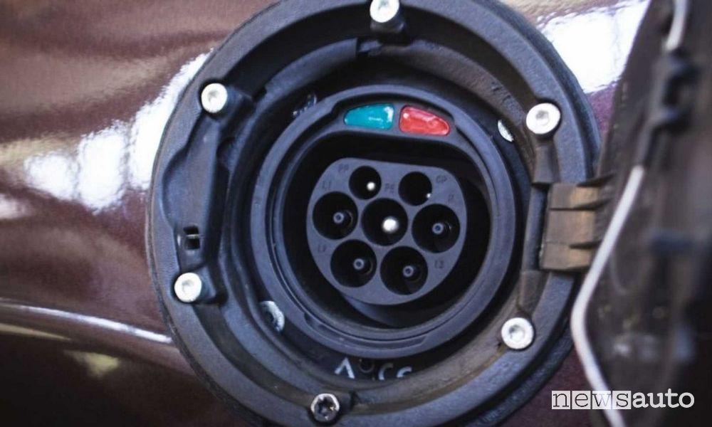 Presa di ricarica tipo 2 Fiat Panda 4x4 elettrica Icon-e Garage Italia