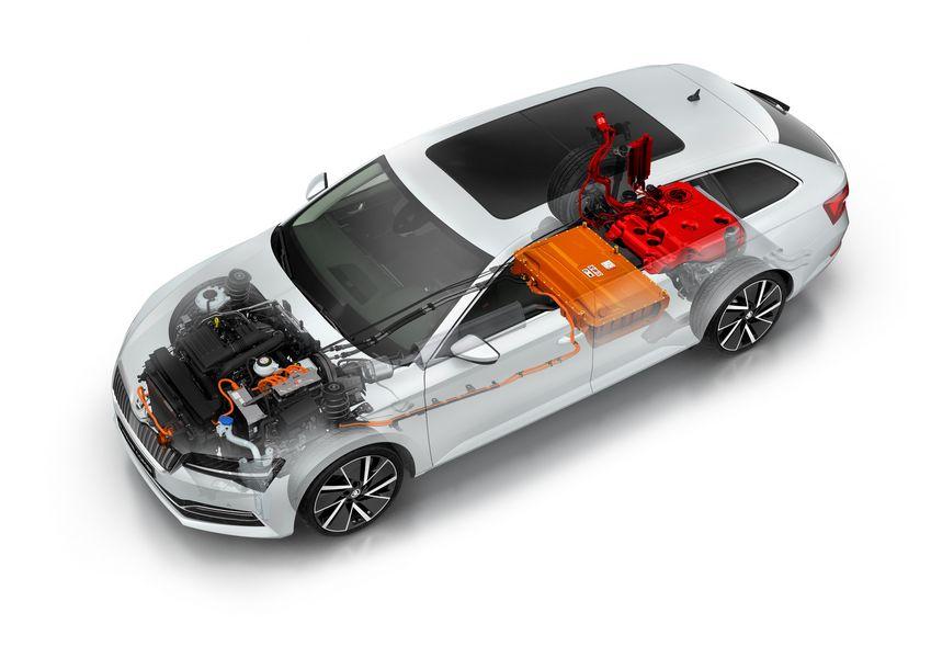 Schema sistema ibrido plug-in Škoda Superb iV