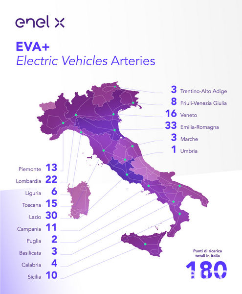 Mappa punti di ricarica veloce EVA+ Italia Austria