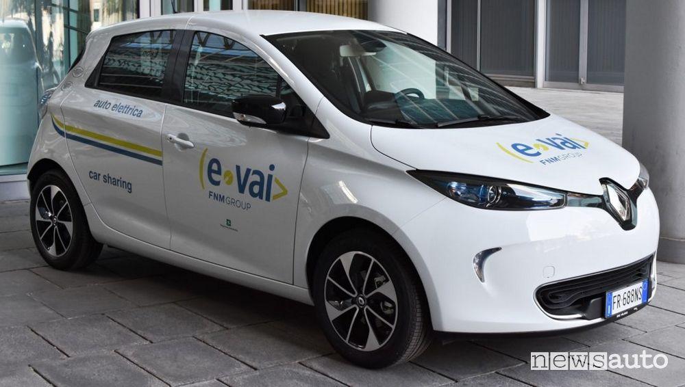 Renault Zoe della flotta car sharing di E-Vai in Lombardia