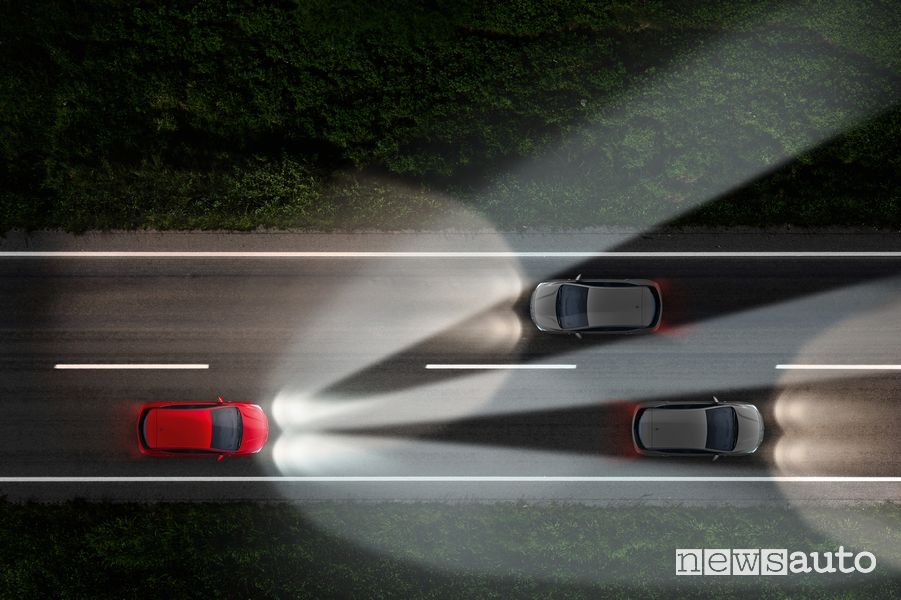 Fascio di luce fari IntelliLux LED Matrix Opel Astra