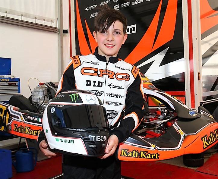 Il giovane Paolo Gallo, classe 2005 pilota di Kart al FIA Motorsport Games 2019