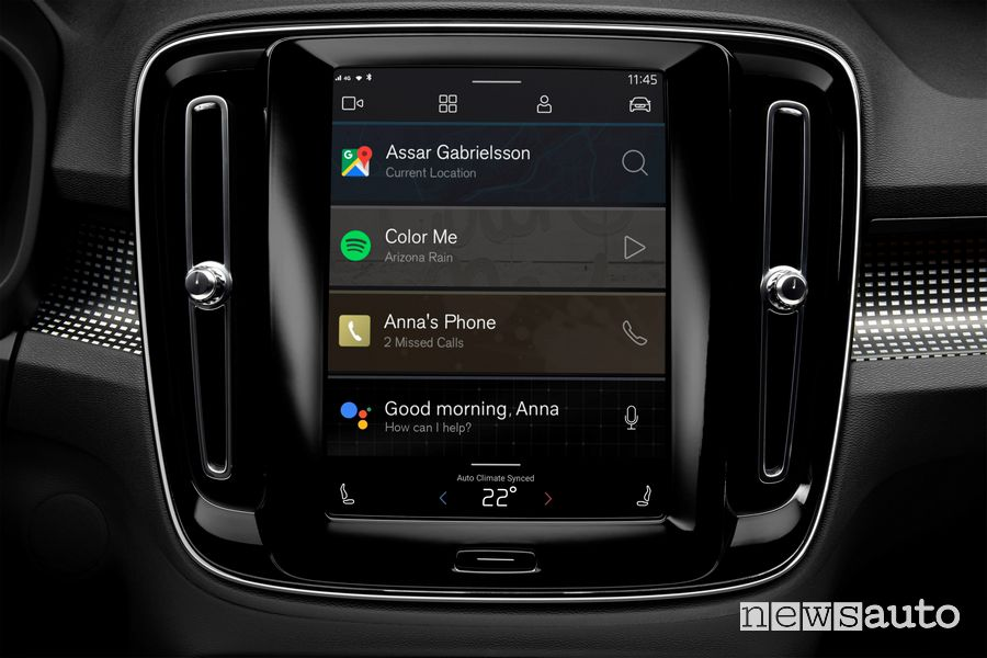 Touch screen infotainment Android Volvo XC40 elettrica