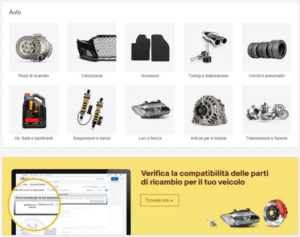 Sezione ricambi auto sull'home page di eBay